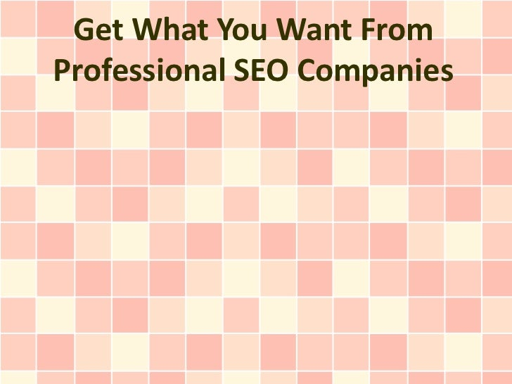 Get What You Want FromProfessional SEO Companies