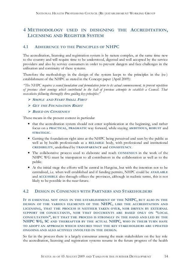 development of nhpc accreditation and licensing system status 09 08 03