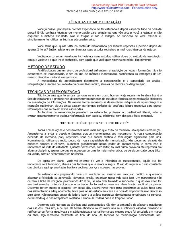 281967 tecnicas de memorizacao e estudo eficaz for Tecnicas gastronomicas pdf