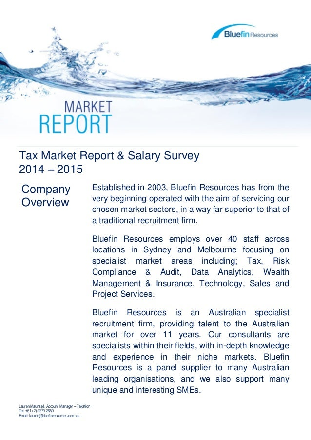 Bluefin - Tax Market Report and Salary Survey 2014 -2015