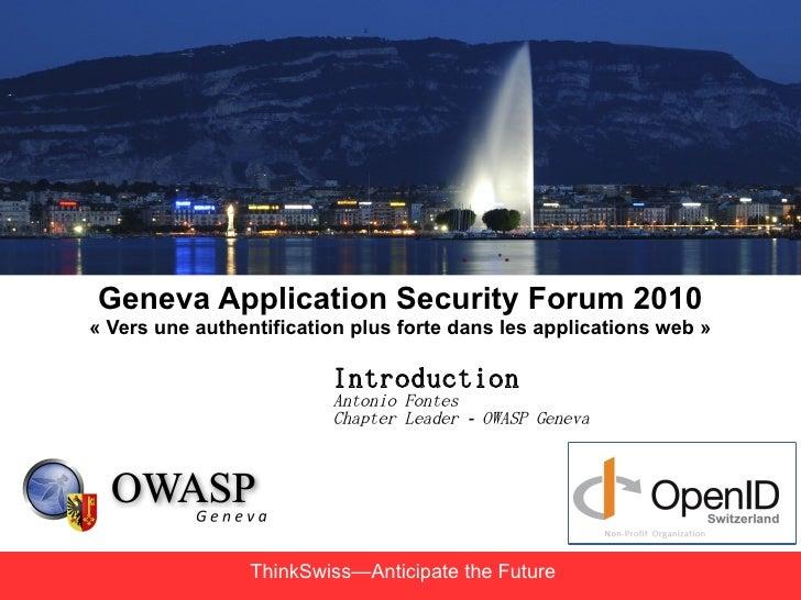 Geneva Application Security Forum 2010 « Vers une authentification plus forte dans les applications web »                 ...