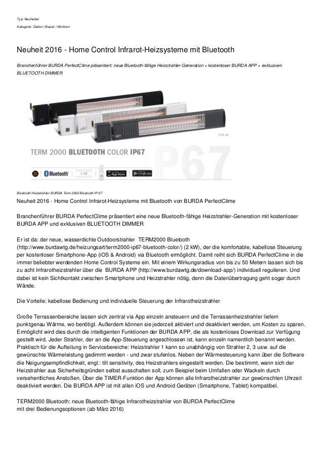 Typ: Neuheiten Kategorie: Garten | Bauen | Wohnen Neuheit 2016 - Home Control Infrarot-Heizsysteme mit Bluetooth Branchenf...
