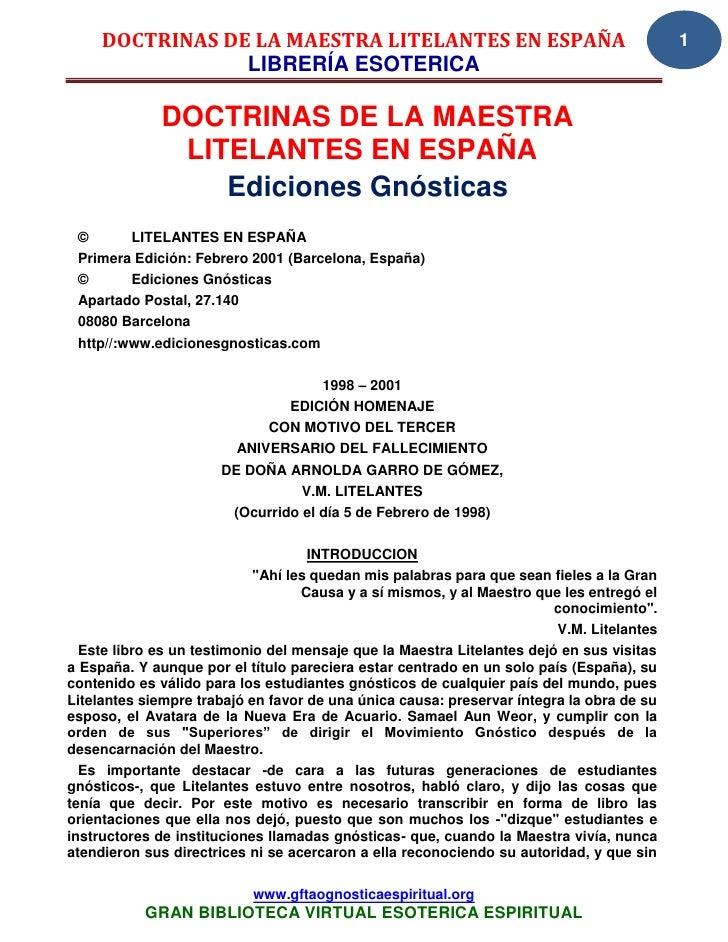 DOCTRINAS DE LA MAESTRA LITELANTES EN ESPAÑA                                         1                 LIBRERÍA ESOTERICA ...