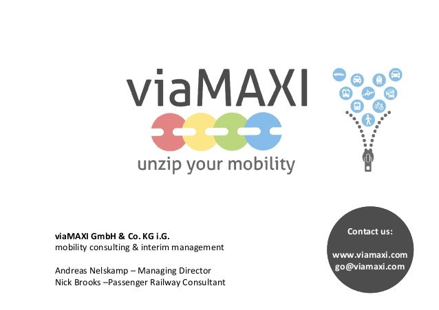 viaMAXI GmbH & Co. KG i.G. mobility consulting & interim management Andreas Nelskamp – Managing Director Nick Brooks –Pass...