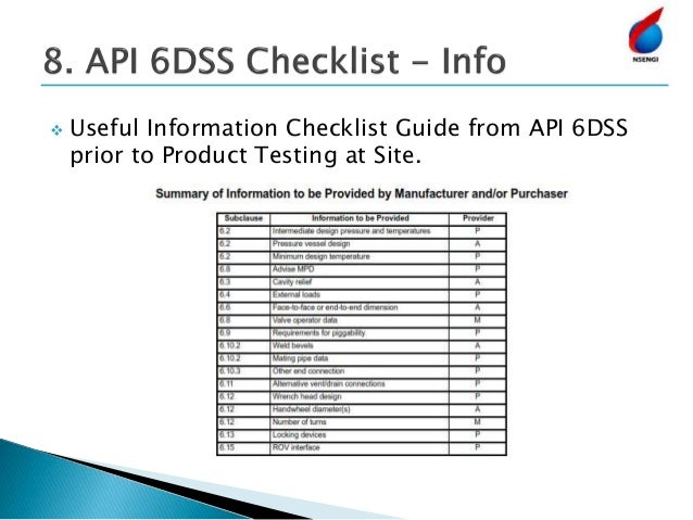  Useful Information Checklist Guide from API 6DSS prior to Product Testing at Site.