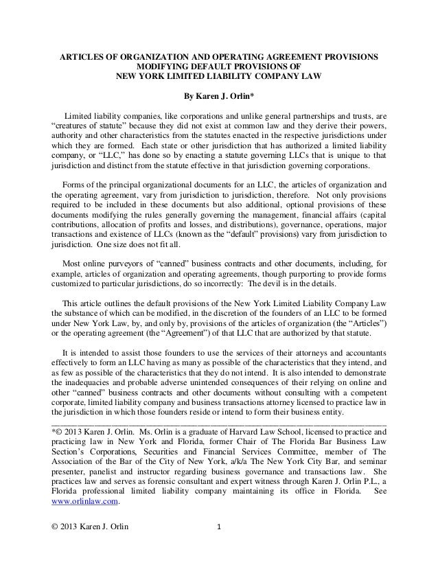 Articles of Organization and Operating Agreement Provisions Modifying…
