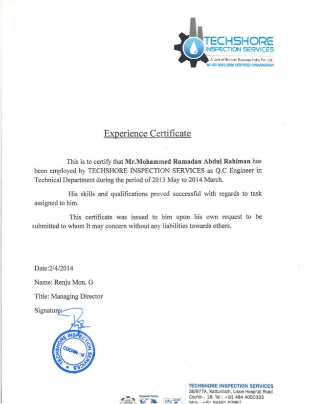 qc engineer experience certificate from techshore