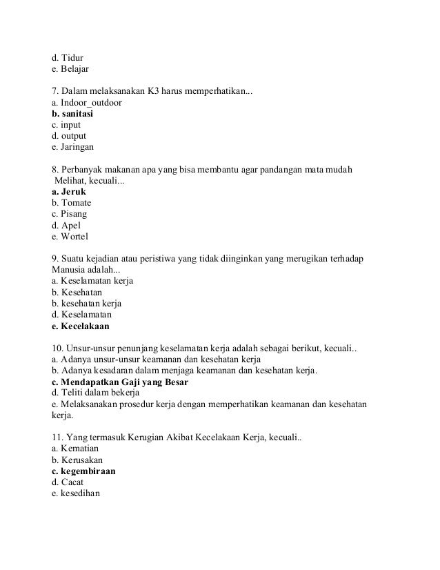 contoh soal k3lh essay beserta jawaban