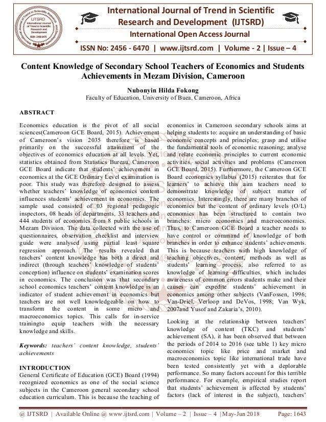 Content Knowledge Of Secondary School Teachers Of Economics