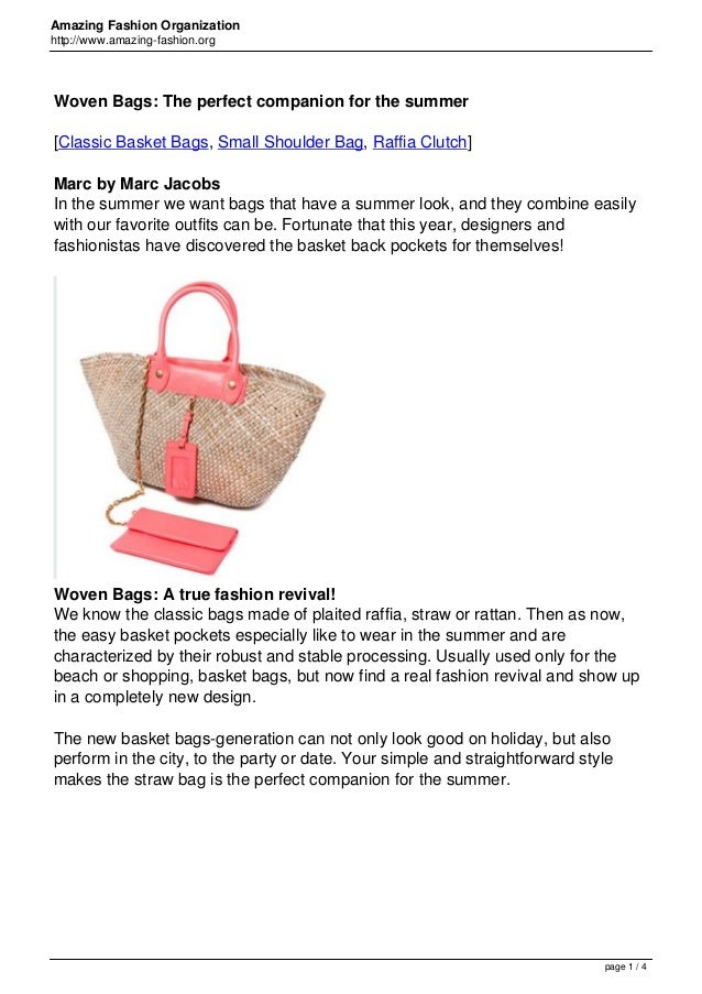 Amazing Fashion Organization http://www.amazing-fashion.org Woven Bags: The perfect companion for the summer [Classic Bask...