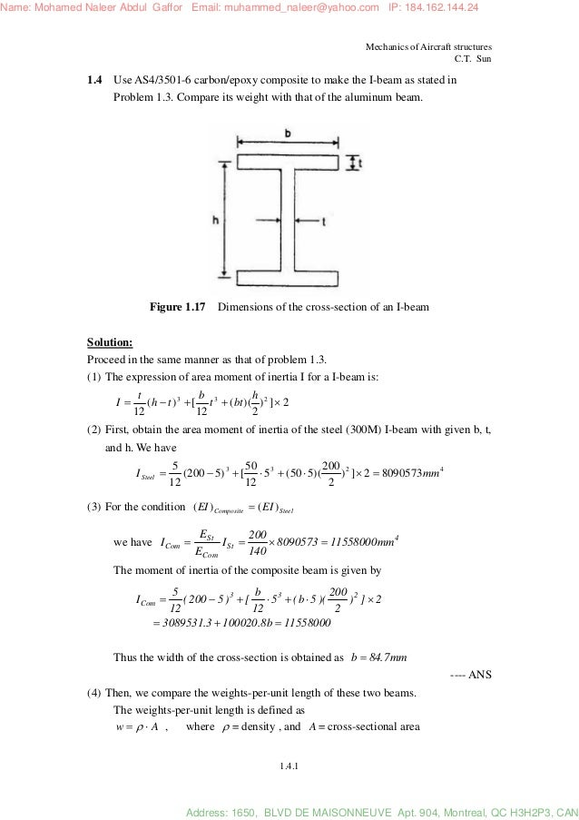 Mechanics of aircraft structures solution manual c. T. Sun 2nd ed.