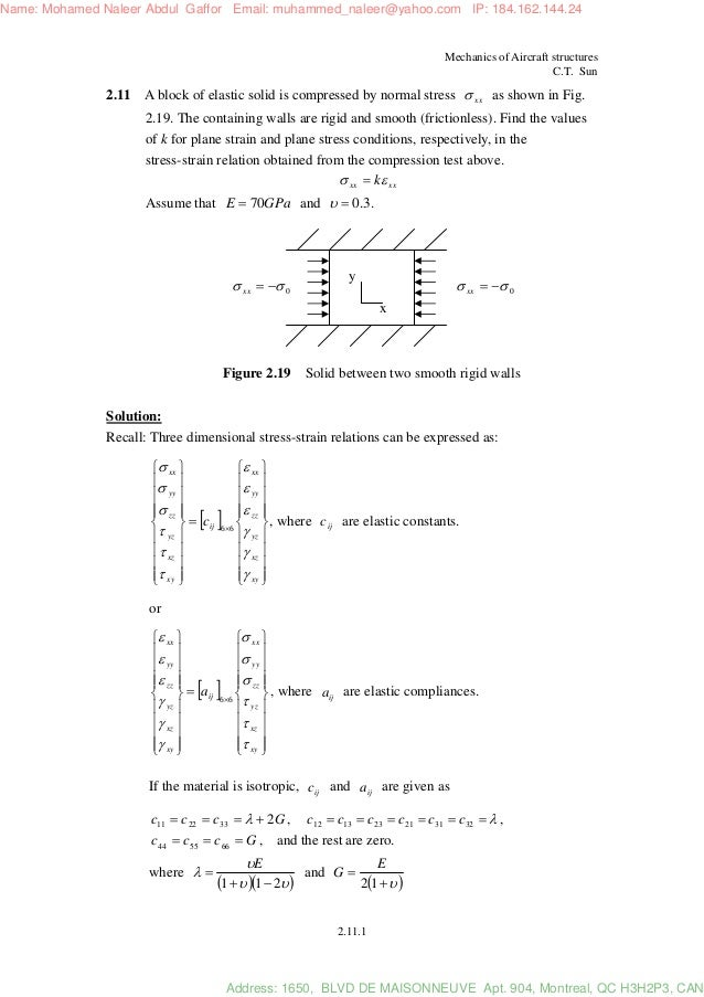 Megson solution manual aircraft structures ch01 | stress.