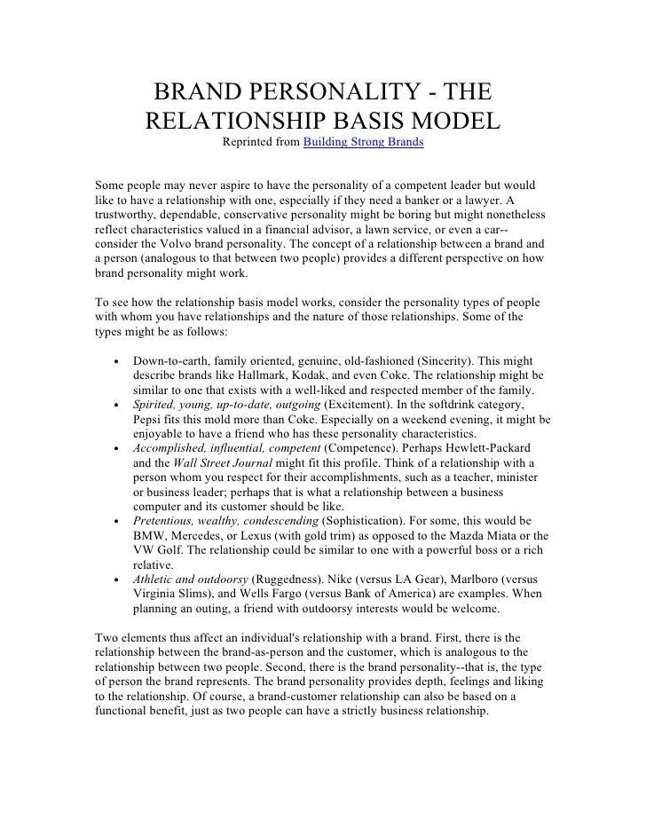BRAND PERSONALITY - THE          RELATIONSHIP BASIS MODEL                         Reprinted from Building Strong BrandsSom...