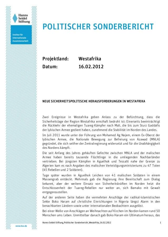 Hanns-Seidel-Stiftung_Politischer Sonderbericht_Westafrika_16.02.2012 1 POLITISCHER SONDERBERICHT Projektland: Westafrika ...