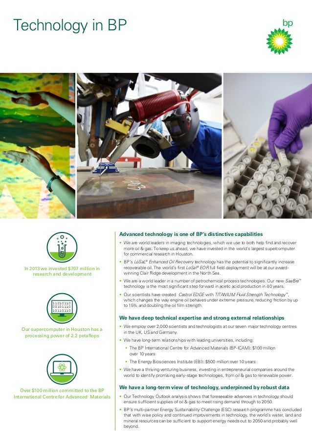Technology in BP Advanced technology is one of BP's distinctive capabilities • We are world leaders in imaging technologi...