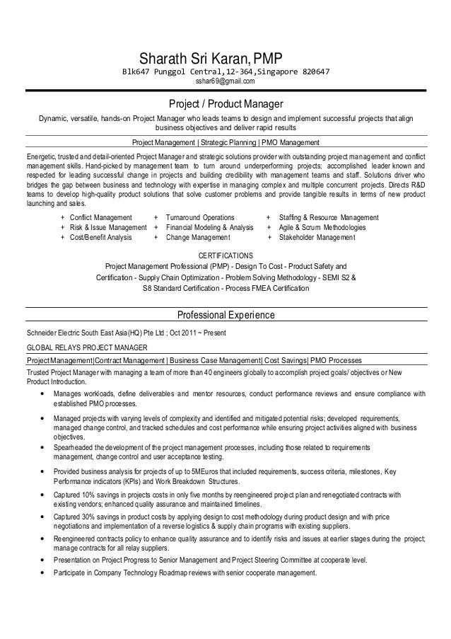 sharath s resume project manager v5 30th may 15