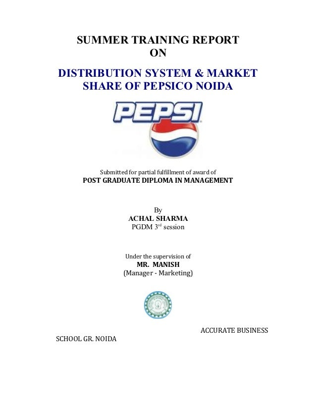 project report on market share analysis of pepsi Pepsico inc pepsico, inc engages in the manufacture, marketing, distribution, and sale of beverages, food, and snacks it is a food and beverage company with a complementary portfolio of brands.