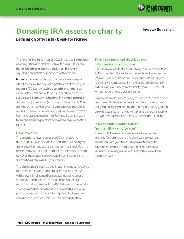 Donating IRA assets to charity  Investor Education  Legislation offers a tax break for retirees  The Pension Protection Ac...
