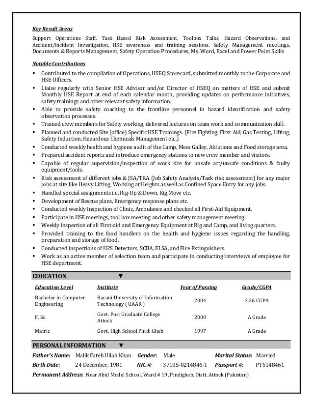 m  ajmal cv  field safety engineer