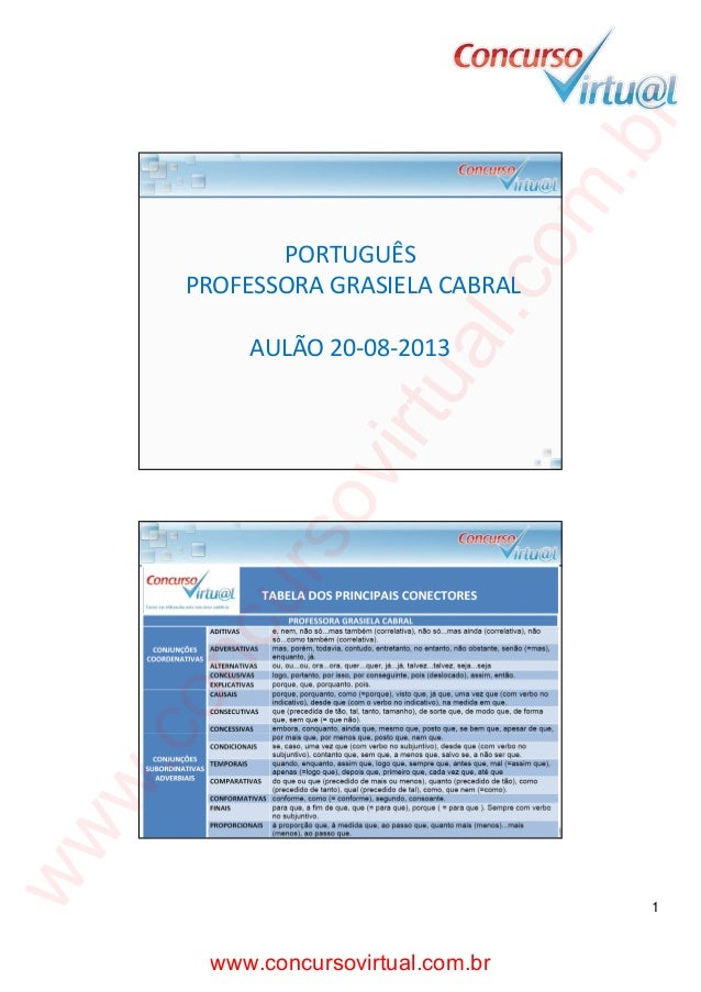 co m  .b r  20/08/2013  al.  PORTUGUÊS PROFESSORA GRASIELA CABRAL  ww  w. co  nc  ur  so  vir  tu  AULÃO 20‐08‐2013  1  ww...