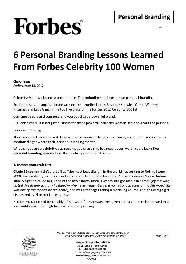 Personal Branding                                                                                                    Ref: ...