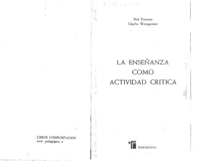La enseñanza como actividad crìtica