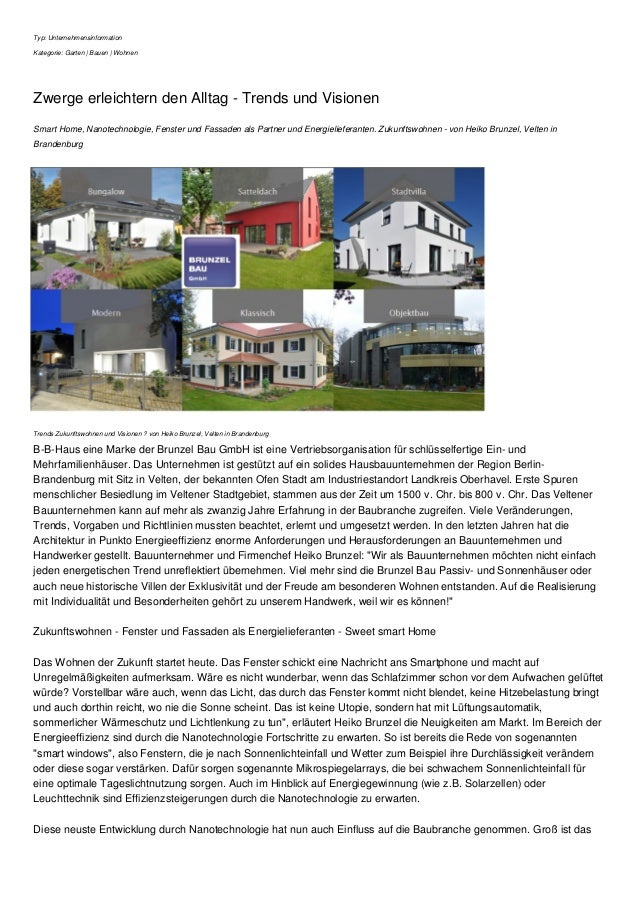 Typ: Unternehmensinformation Kategorie: Garten | Bauen | Wohnen Zwerge erleichtern den Alltag - Trends und Visionen Smart ...