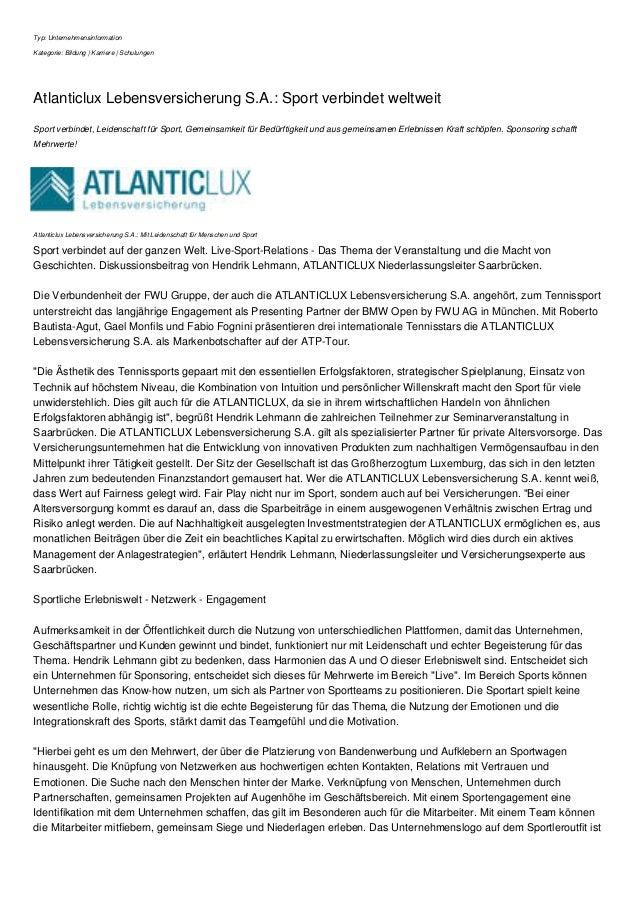 Typ: Unternehmensinformation Kategorie: Bildung | Karriere | Schulungen Atlanticlux Lebensversicherung S.A.: Sport verbind...