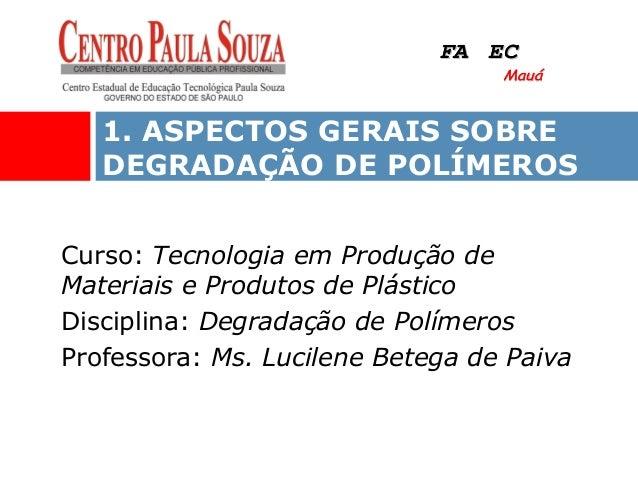Curso: Tecnologia em Produção de Materiais e Produtos de Plástico Disciplina: Degradação de Polímeros Professora: Ms. Luci...