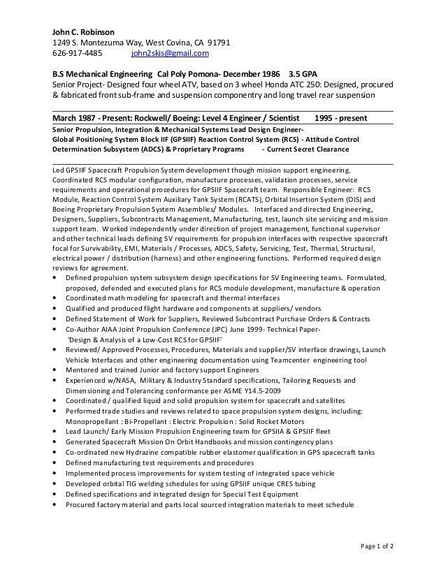 John C. Robinson - Mechanical Engineer IV- Resume (CV)