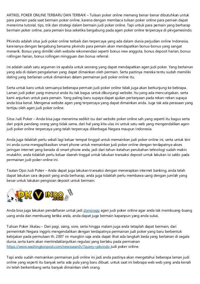 Situs Poker Online Resmi Terbaik Indonesia