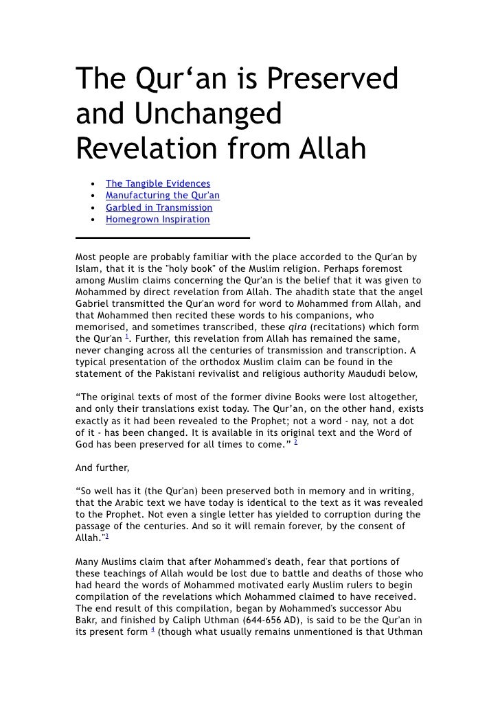 The Qur'an is Preserved and Unchanged Revelation from Allah    •   The Tangible Evidences    •   Manufacturing the Qur'an ...