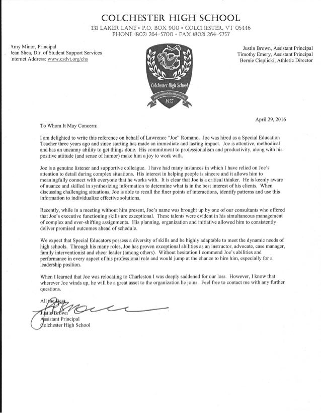 Letter of recommendation justin brown assistant principal negle Choice Image