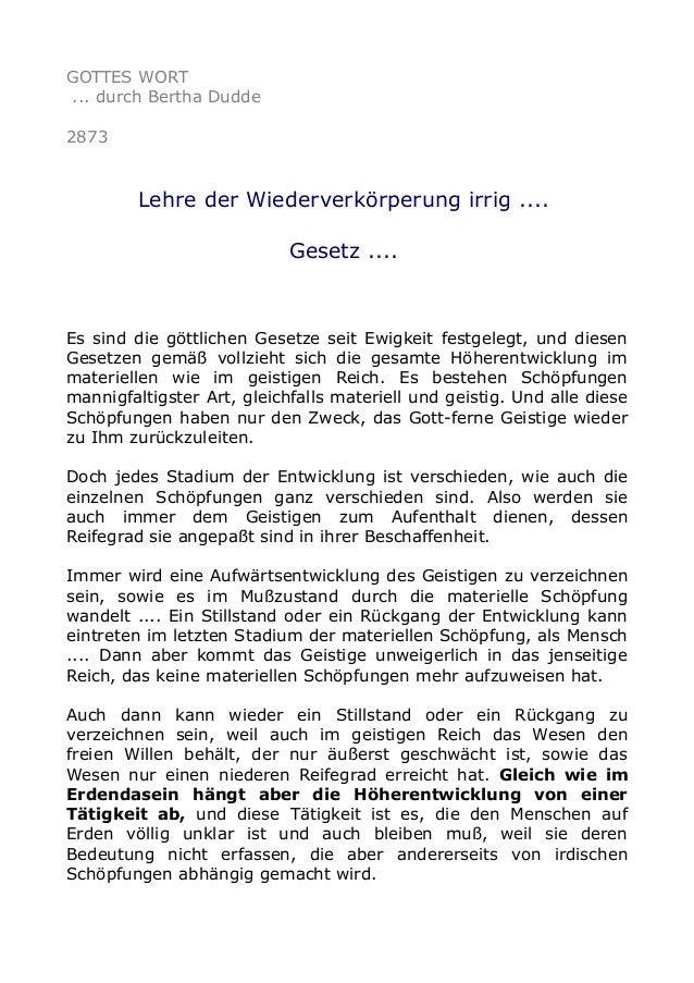 GOTTES WORT ... durch Bertha Dudde 2873 Lehre der Wiederverkörperung irrig .... Gesetz .... Es sind die göttlichen Gesetze...