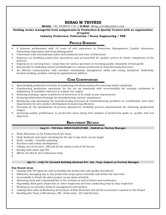 BIHAG M TRIVEDI Mobile: +91-9428431110 / E-Mail: bihag_trivedi@yahoo.com Seeking senior managerial level assignments in Pr...