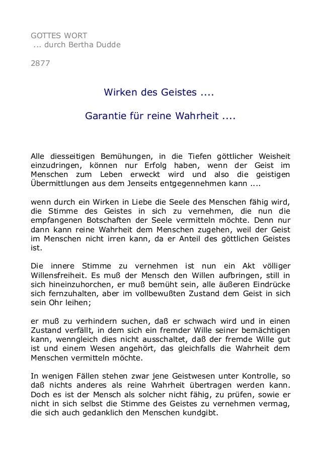 GOTTES WORT ... durch Bertha Dudde 2877 Wirken des Geistes .... Garantie für reine Wahrheit .... Alle diesseitigen Bemühun...