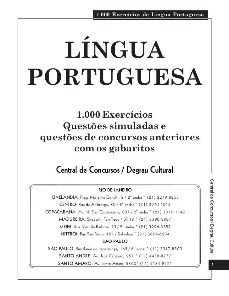 1.000 Exercícios de Língua Portuguesa  LÍNGUAPORTUGUESA       1.000 Exercícios    Questões simuladas equestões de concurso...