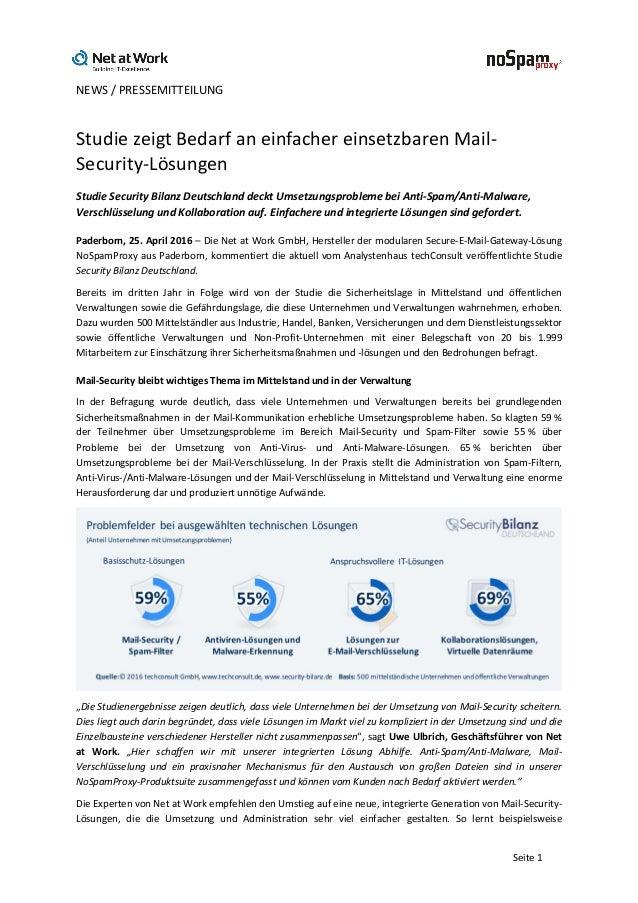 NEWS/PRESSEMITTEILUNG   Seite1 StudiezeigtBedarfaneinfachereinsetzbarenMail- Security-Lösungen StudieSecur...