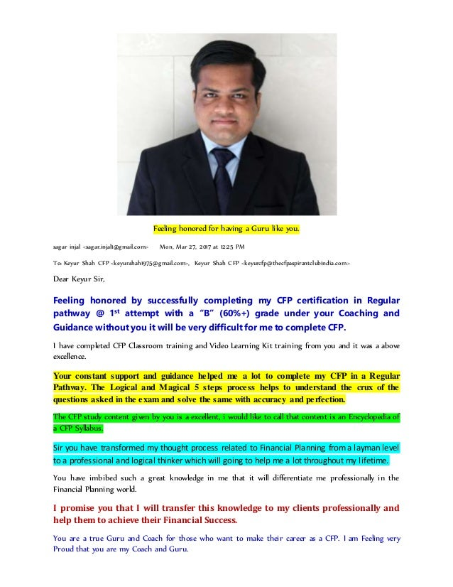 To  Success Stories Of Cfp Aspirant Club