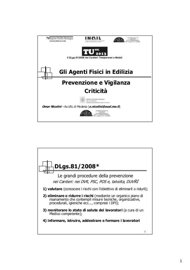 1 Omar Nicolini - Az.USL di Modena (o.nicolini@ausl.mo.it) Gli Agenti Fisici in Edilizia Prevenzione e Vigilanza Criticità...