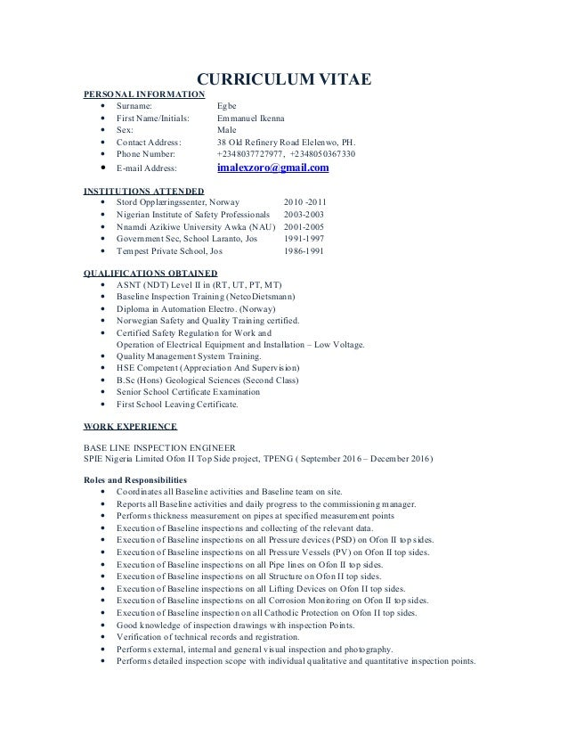 CURRICULUM VITAE PERSONAL INFORMATION • Surname: Egbe • First Name/Initials: Emmanuel Ikenna • Sex: Male • Contact Address...