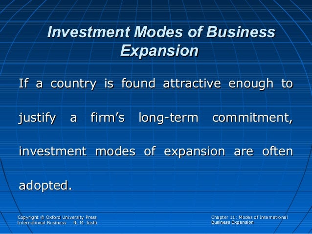 modes of international business This lecture is from international business key important points are: selecting and managing entry modes, institutional arrangement, technologies, human skills, manufacture, ownership advantages of the company, location advantages of the market, international experience, potential size of the market, develop.