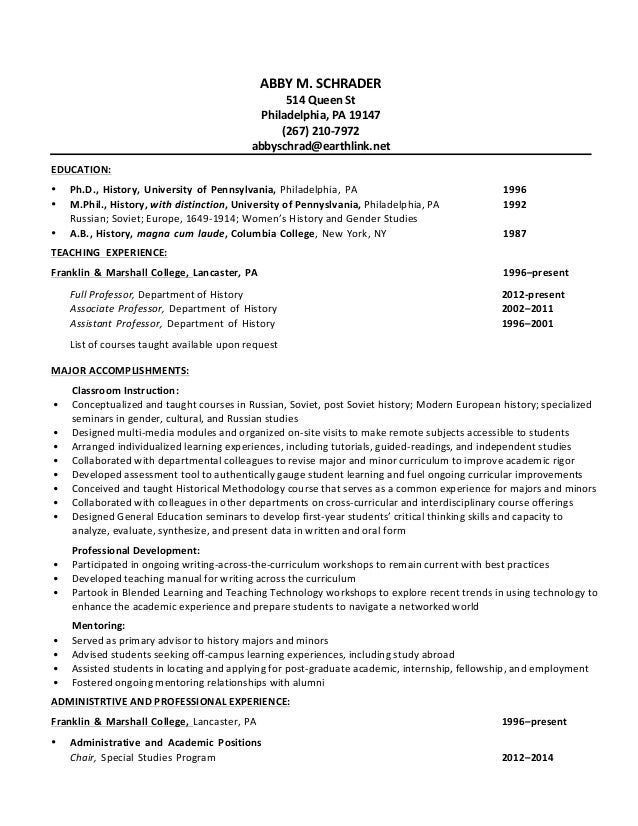 schrader academic resume  december 2014