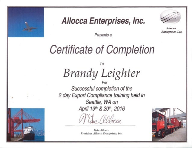 Export Compliance Training Certificate Of Completion