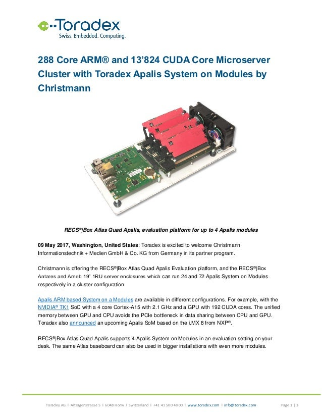 288 Core ARM® and 13'824 CUDA Core Microserver Cluster with