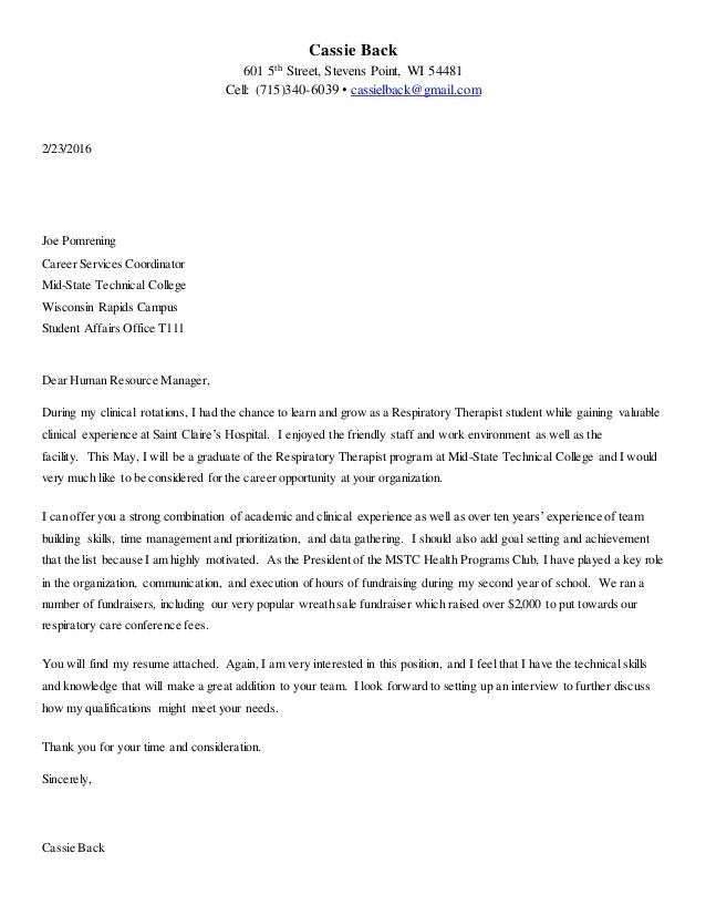 Respiratory Therapist Cover Letter