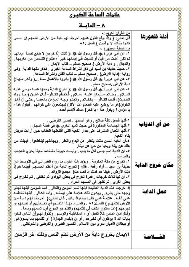 الكبرى الساعة عالمات 8-الدابــة ظهورها أدلة الكريم القرآن من:- تعالا قال:{األرض منن دابة لهم...