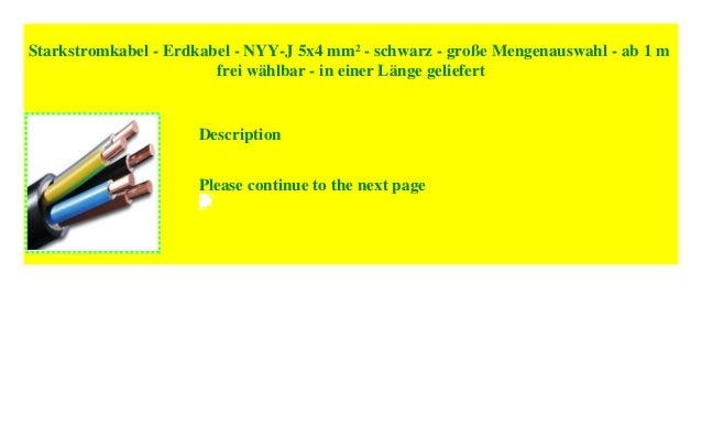 ab 1 m frei w/ählbar Starkstromkabel schwarz gro/ße Mengenauswahl NYY-J 5x6 mm/² Erdkabel in einer L/änge geliefert