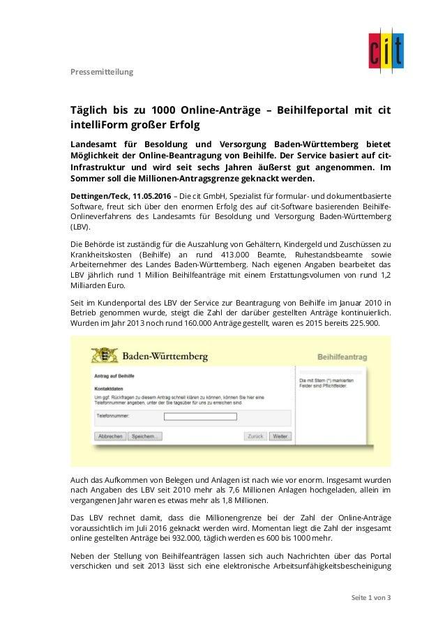 Pressemitteilung               Seite  1  von  3   Täglich bis zu 1000 Online-Anträge – Beihilfeportal mi...