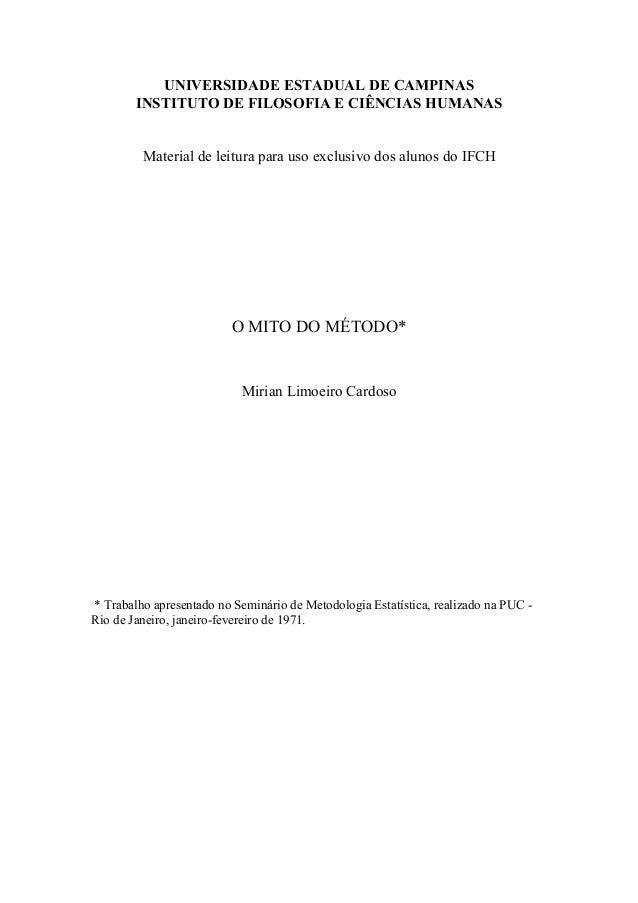 UNIVERSIDADE ESTADUAL DE CAMPINASINSTITUTO DE FILOSOFIA E CIÊNCIAS HUMANASMaterial de leitura para uso exclusivo dos aluno...